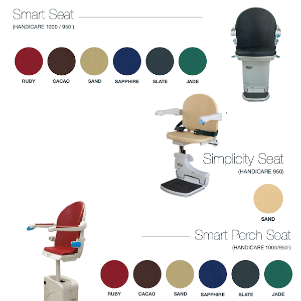 Handicare stairlift styles and colours of the 950+